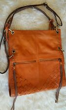 Lucky Brand Crossbody Shoulder Fold Over Bag Natural Leather