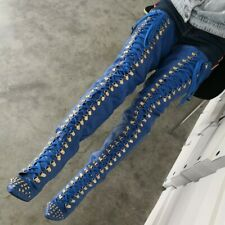 Stiletto Thigh High Boots Women Ladies High Heel Rivets Lace Up Over Knee High