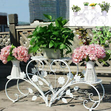 Unique White Heart Shap Plant Stand Multi Holders Potted Plant Rack Flower Shelf