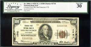 1929 $100 Crocker 1st NB San Francisco CA Fr. 1803-1 Ty.1 Ch#1741 VF30 #E00979A