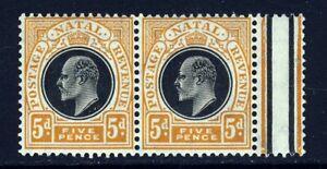 NATAL SOUTH AFRICA KE VII 1908 5d. Black & Orange A PAIR Wmk MCCA SG 153 MNH