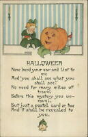 Halloween - Little Girl JOL & Imp Nash #30 c1910 Embossed Postcard