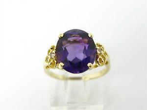 Vintage 14k Yellow Gold Natural 3.50ct Amethyst & Diamond Ladies Ring 3.0g