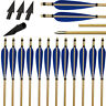 "31"" Archery Hunting Wood Arrows 5"" Turkey Fletching Feathers Shooting Broadheads"