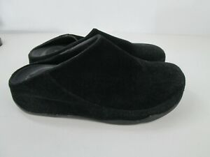 Fitflop Mules Black Suede Leather Black Slip On Gogh Moc Clog Womens 8 Shoes