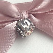 New Genuine Retired Pandora Two Tone Gold And Silver Pink CZ Mum Charm 790888CZS