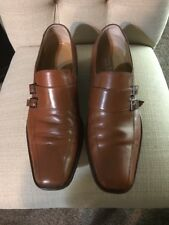**TARYN ROSE** MEN SHOES SIZE 44 C TAN/BROWNISH MONK BUCKLES LOAFERS LEATHER