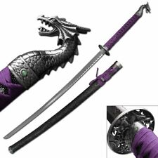 "NEW! 41.5"" Silver Dragon Royal Purple Japanese Samurai Katana Sword"