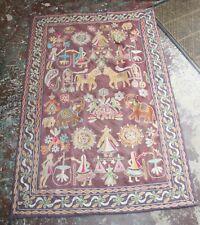Vintage Nepal Nepalese Katmandu Embroidered Wall Hanging Tapestry Large Size