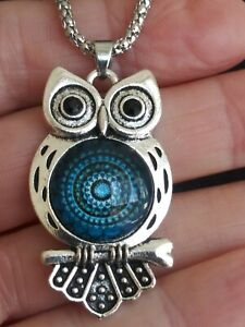 BETSEY JOHNSON ~ OWL ~ SILVER PLATED PENDANT NECKLACE~28 IN.