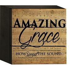 """AMAZING GRACE HOW SWEET THE SOUND... Distressed Wood Box Sign, 4.5"""" x 4.5"""""""