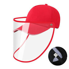 Safety Full Face Shield Protective Facial Baseball Cap Detachable Hats - Red