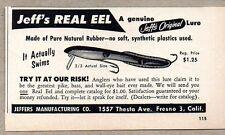 1956 Print Ad Jeff's Real Eel Fishing Lures Jeffers Co. Fresno,CA