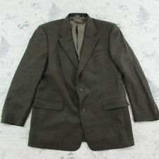 VTG Burberry Blazer 2 Button Olive Green Herringbone WOOL Sport Coat Jacket 44R