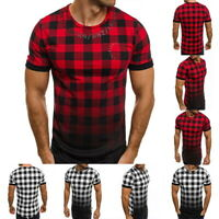 Fashion Mens Short Sleeve T-Shirt Basic Tee Casual Slim Fit Check Plaid T-Shirt