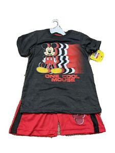 NEW Disney Junior Mickey Mouse Two Piece Set In Youth Boys Size 6 Shorts Tshirt