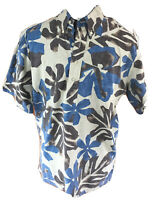 Reyn Spooner Mens Medium Blue Beige Floral  Short Sleeve Hawaiian Aloha Shirt