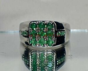 Natural Green Onyx Gemstone with 925 Sterling Silver Ring for Men's #3505