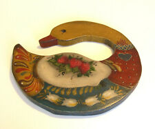 Hand Painted Wood Goose Wall Plaque Tole Painting Folk Art