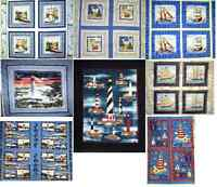NAUTICAL themed PANELS : 100% cotton fabric  : CHOOSE from assorted designs