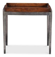 """28"""" L Agamennone Set of 2 Side Table Hand Crafted Solid Oak Forged Iron Frame"""