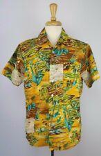 Waikiki 76 Vtg 70's M Mustard Yellow/Brown/Green Hawaiian Tropical Shirt Ss