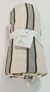 "Pottery Barn Riad Stripe Fringe Tablecloth 70"" x 90"" 100% Cotton Tassels NWT"