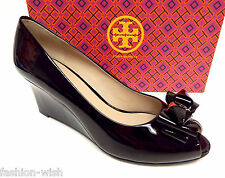 New TORY BURCH Black Size 10 Stacked Bow Wedge Heels Shoes
