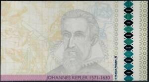 """Test Note Hueck Foils Austria, portrait Kepler, """"Pure"""" holographic Test foil"""