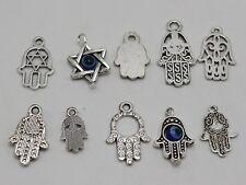 "40 Assorted Tibet Silver Kabbalah EVIL EYE Hamsa Hand ""Star of David"" Pendants"
