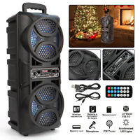New Portable Dual 6.5'' Wireless BT Speakers 10W Super Bass Stereo LED Light AUX