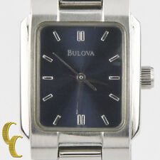 Bulova Woman's Stainless Steel Quartz Watch w/ Satin Blue Dial 1999