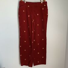 David Brooks Red Corduroy Pants With Squirrels Womens Size 12