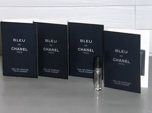BLEU DE CHANEL Men's eau de Parfum, Spray Samples Vials QTY (4) x .05 oz, 1.5 ml