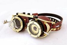 Steampunk goggles with IRIS APERTURE and magnifier Brass LARP Brown