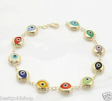 Bracelet Real 14K Yellow Gold 8.6 grams All Polished Round Good Luck Evil Eye
