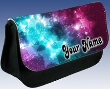 Personalised Girls Ladies Stars Galaxy Glitter Pencil Case DS Make Up Small Bag