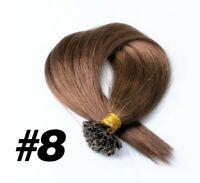 100 CIOCCHE HAIR EXTENSION CHERATINA 0,5GR 45CM CAPELLI VERI CASTANO U TIP REMY!