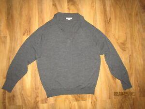 John Smedley Extrafine Merino Wool grey collar Jumper XXL grey 2XL