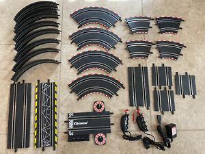 Carrera GO!!! 1/43 Slot Car Track Lot 27 Straight Curves Loops Controllers ETC