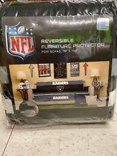 "NFL Oakland Raiders Reversible 75"" x 110"" Sofa Protector in Grey/Black"