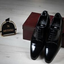 NWB $2600 ARTIOLI Patent Leather  Shoes Black 9.5US / 43EU made in Italy G Width