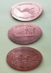 Elongated Coin,Souvenirmünze,Wilhelmshaven,Hafen,Kompl.Satz,auf 5 Cent