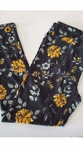 Lularoe Leggings TC TALL CURVY Gold Mustard Roses Floral Flowers New Print NWT