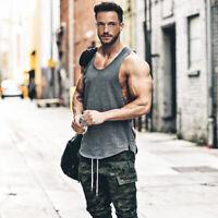 New Mens Plain Muscle Tank Singlet Sleeveless Top Bodybuilding Gym Vest T-Shirt