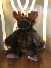 "Build A Bear Workshop Moose Plush 12"" Sitting Brown Stuffed Animal Antlers..."
