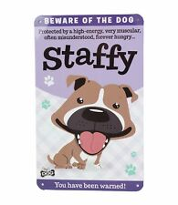 Beware of the Staffy Bull Terrier Funny Metal Wall Sign Plaque Dog Lovers Gift