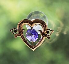 Violet Crystal Heart Sun Catcher with Doves made with Swarovski Elements