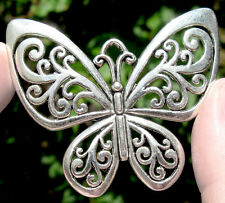 SILVER Whimsical Butterfly Vintage Pendant Antique Large Focal Bead Necklace NR!