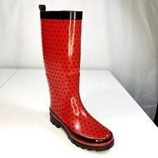 Esprit Rubber Rain Boots Size 5 Womens Red Black Polka Dot Snow Waterproof Girls